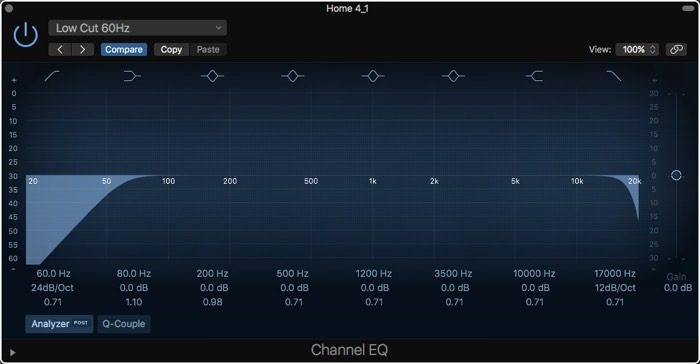 Configuración del ecualizador con cancelación de ruido de Logic Pro X