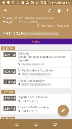 Seguimiento de la entrega de paquetes Smartphone entrega Android