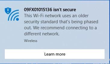 Advertencia de wifi no segura Red no segura