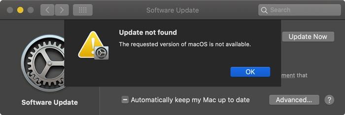 Descargar instaladores de Macos No disponible