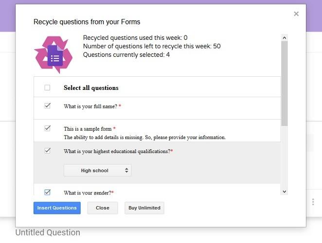 Preguntas sobre reciclados Formulario de reciclado