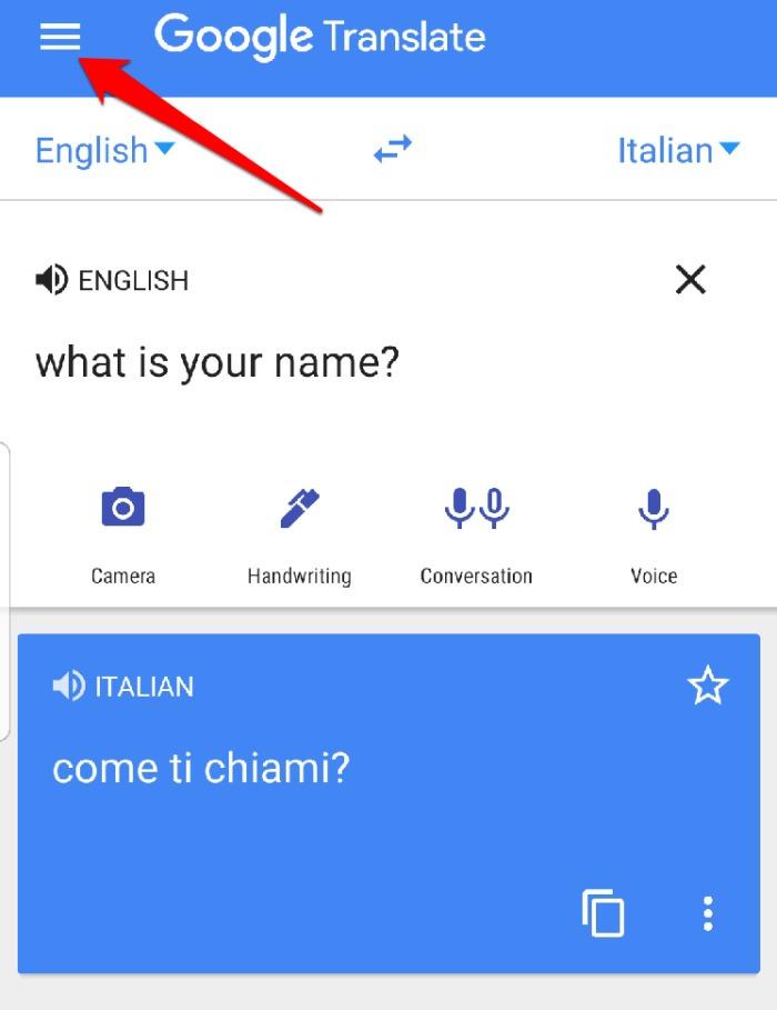 Menú de la aplicación Google Translate