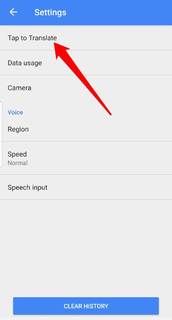 Configuración del menú de la aplicación Google Translate Touch Translation