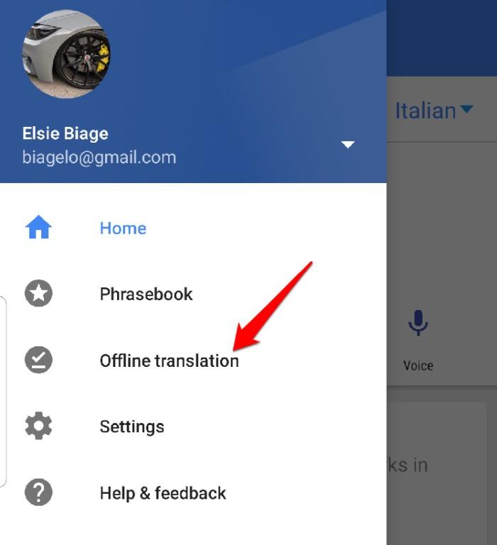 Configuración del menú de la aplicación Google Translate Traducción sin conexión