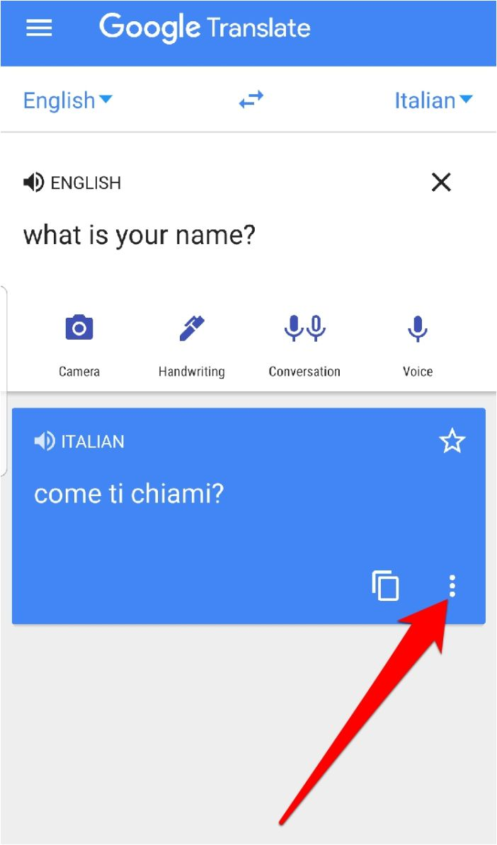 Google Translate Pantalla completa con tres puntos