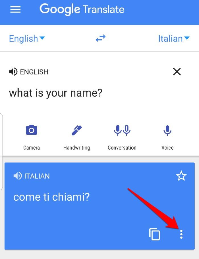 Menú de pantalla completa del Traductor de Google