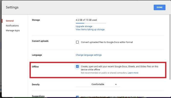 Google Drive Trabaja sin conexión