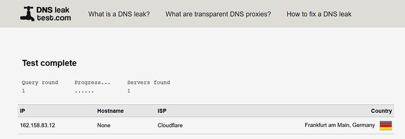 Pruebe la prueba de fugas de DNS a través de HTTPS