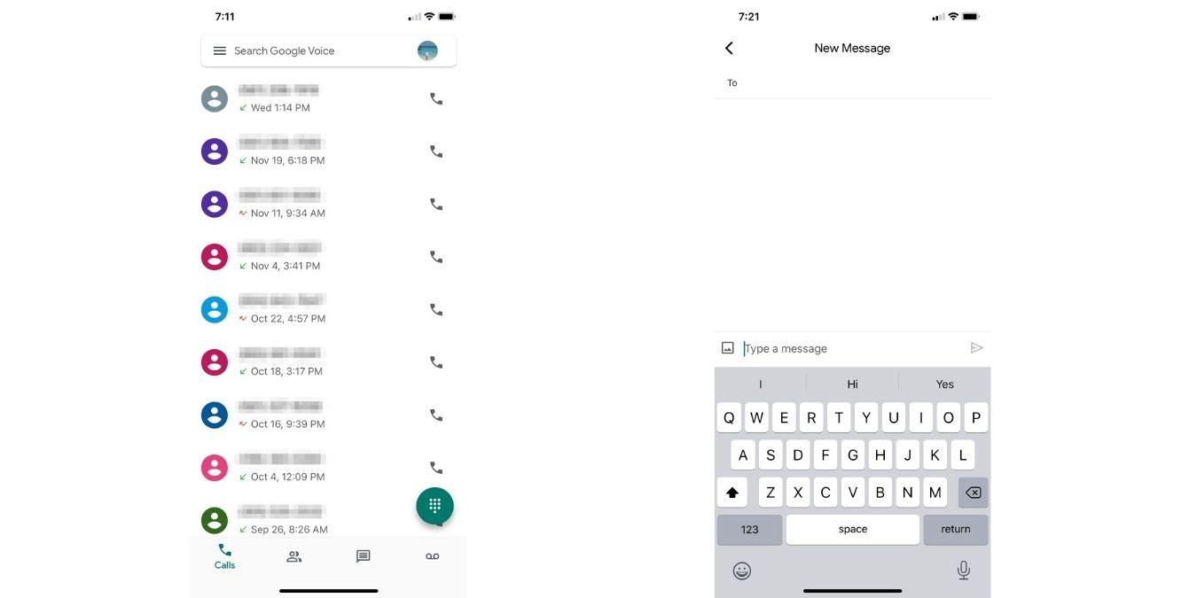 Sobrecargar mensajes de iOS de Google Voice