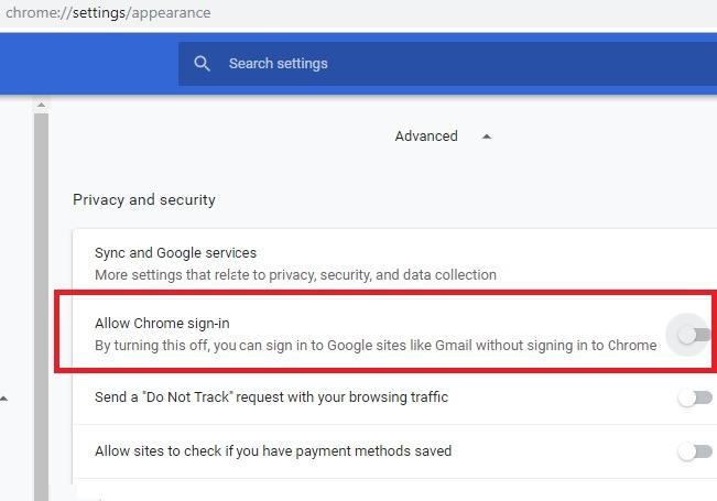 Desactivar la configuración de diseño de la aplicación Chrome