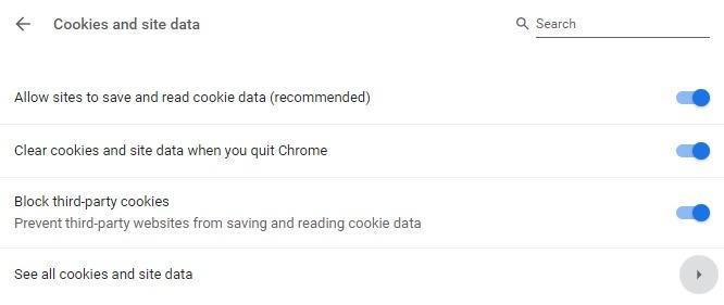 Cookies y datos del sitio