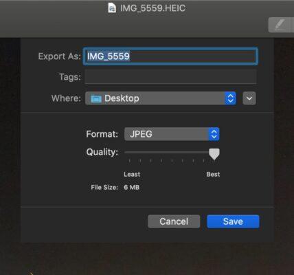 Cómo convertir archivos HEIC a JPG con la vista previa de Mac
