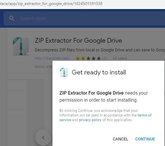 Extractor de zip para Google Drive G Suite