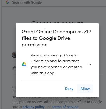 Otorgue permiso para descomprimir archivos zip en línea en Google Drive