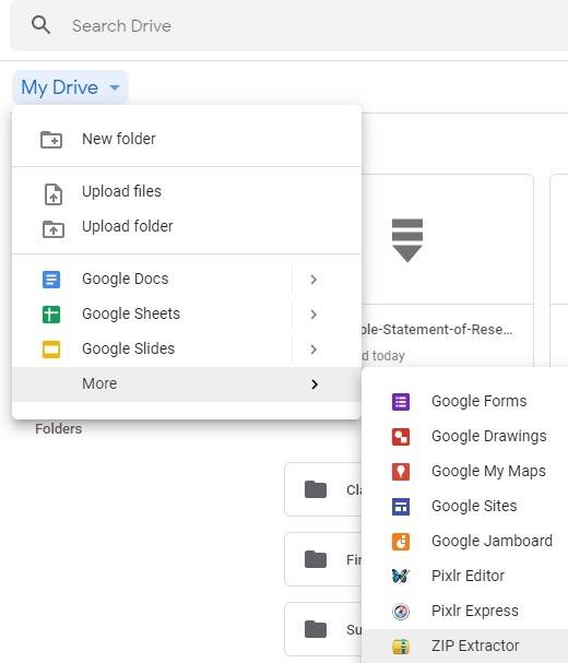 Localice la extensión zip en Google Drive