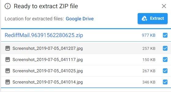 Listo para extraer archivos Zip de Google Drive