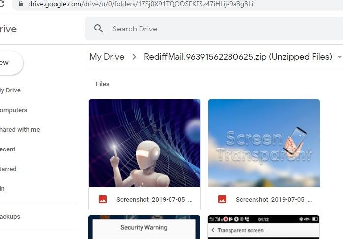 Archivos comprimidos que se muestran en Google Drive