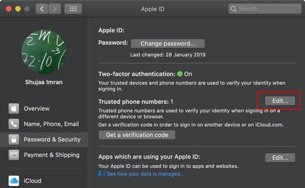 Número de confianza de Icloud Agregar número de Mac