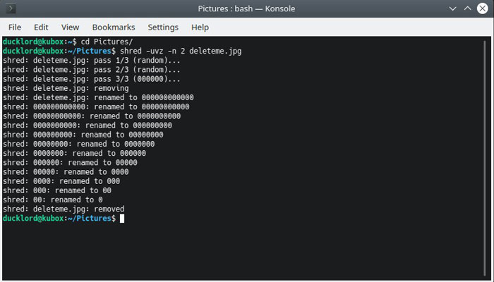 Archivo Linux Eliminar Triturar