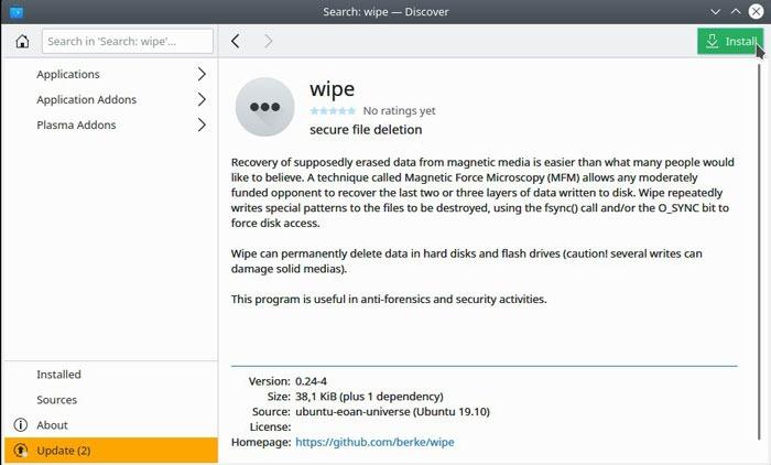 Quitar el archivo de Linux Quitar la instalación
