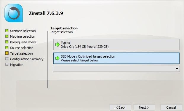 Migración de Zinstall Seleccione la computadora SSD de destino