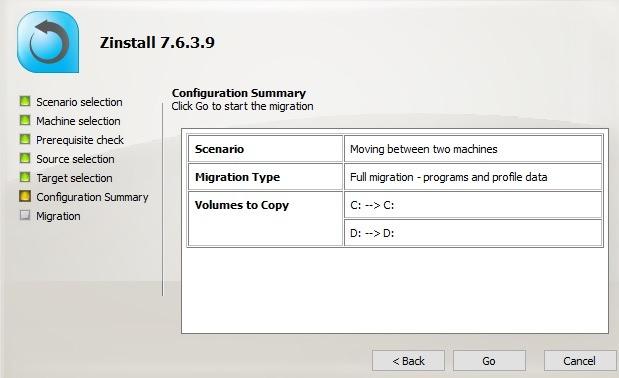 Computadora de transferencia de código completo de migración Zinstall