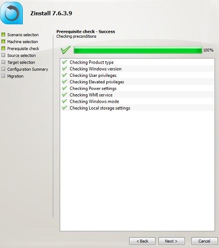 Zinstall Compruebe los requisitos previos del disco duro