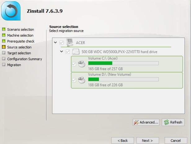 Zinstall Seleccionar fuente de perfil de usuario de migración