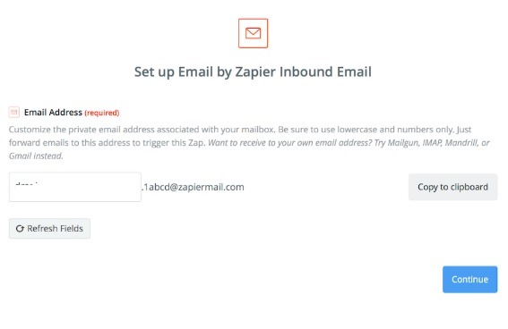 Cliente de correo de buzón de entrada entrante de Zapier