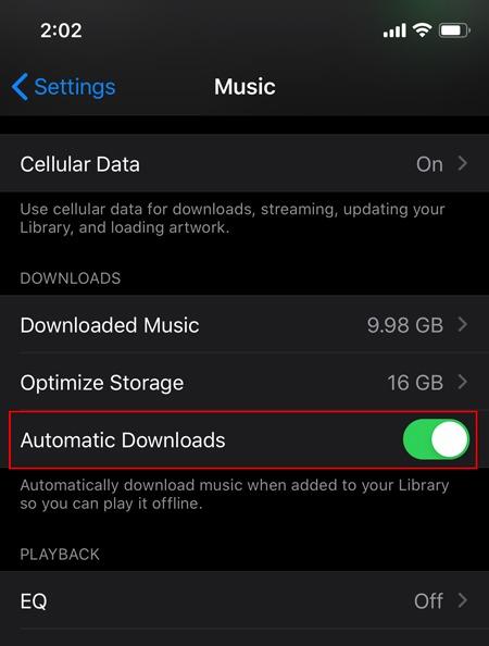 Descargas automáticas de Apple Music Activar Alternar