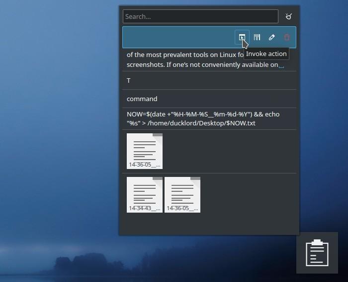 Notas de texto del widget del portapapeles de Kde invoca una acción