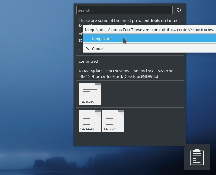 Respuesta del usuario del widget Kde Clipboard Txt Notes