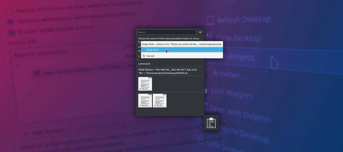 Cómo guardar el historial del portapapeles con el widget del portapapeles de KDE