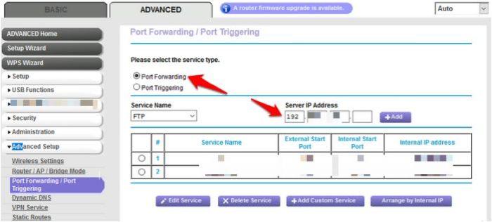 Recibir mensaje Android Dispositivo de correo aéreo del enrutador de reenvío de puertos