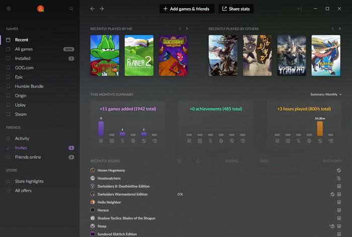 Vista principal de la actualización del juego multiplataforma de Gog Galaxy 2