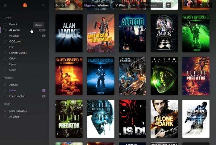 Lista de filtros de juegos multijugador de Gog Galaxy 2