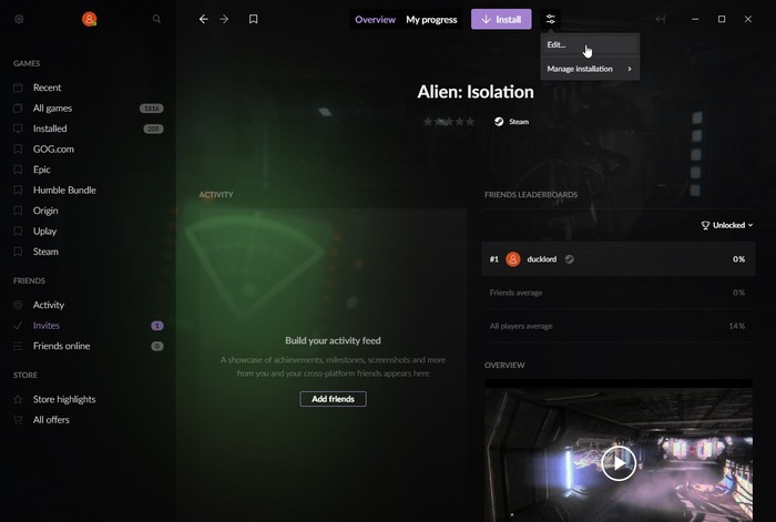 Juegos multiplataforma Gog Galaxy 2 Editar datos del juego