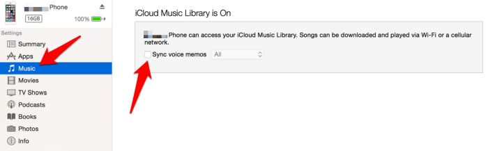 Transferir notas de voz Memos de voz de Iphone iTunes Music Sync Memos de voz
