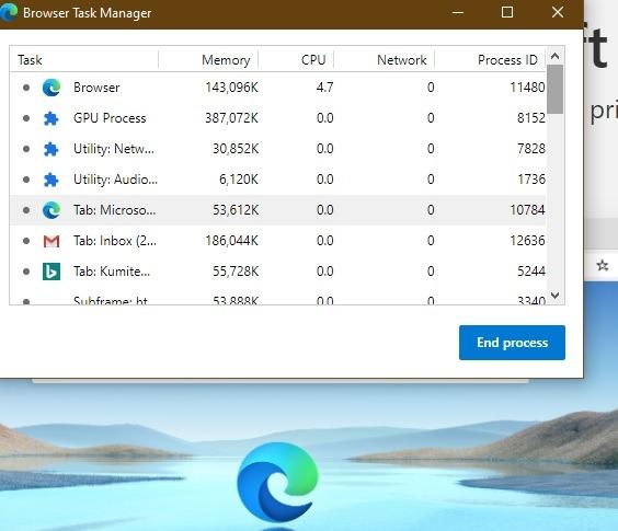 Administrar las tareas del navegador Microsoft Edge