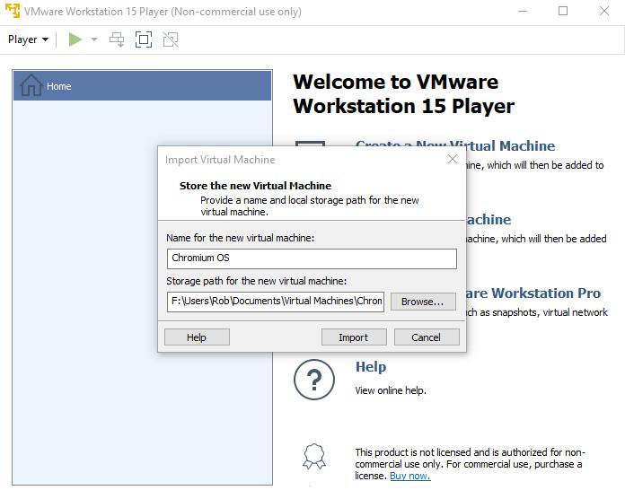 Cómo instalar Chrome OS Windows 10 Importar la máquina virtual