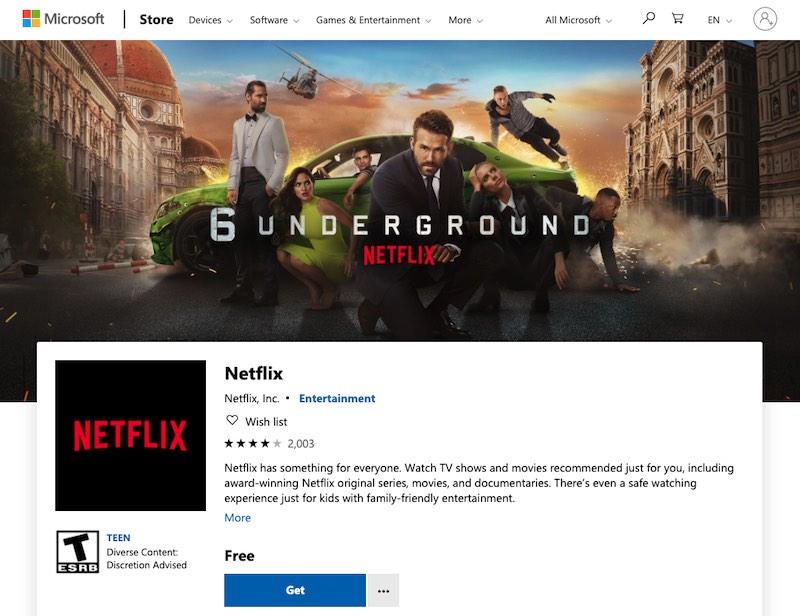 Atajos de teclado de Netflix Windows