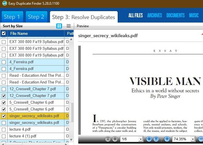 Eliminar archivos duplicados Windows Vista previa sencilla de archivos de Duplicate Finder