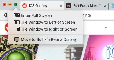 Cómo hacer clic en el botón verde de Macos con pantalla dividida