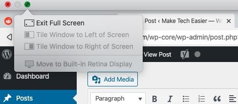 Cómo configurar la pantalla dividida de Macos Salir de la pantalla dividida