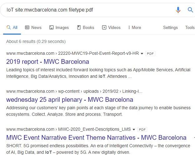 Resultados del tipo de archivo específico del sitio de Google