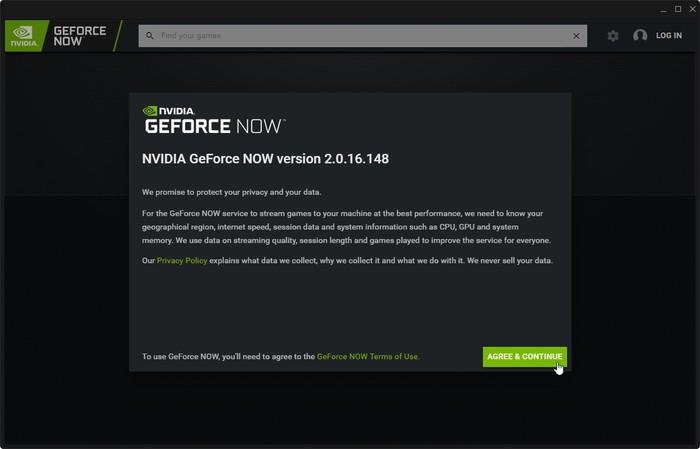 El cliente de Geforce Now Game Streaming está de acuerdo