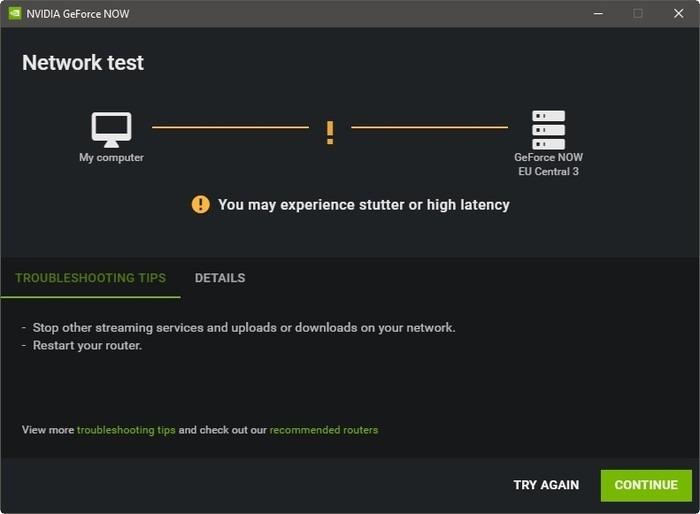 Transmisión de juegos Geforce Now con alta latencia