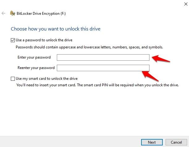 Cifrar memoria USB Windows 10 Use la contraseña de desbloqueo de la unidad Ingrese la contraseña