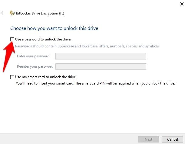 Cifrar memoria USB Windows 10 Utilice la contraseña de desbloqueo de la unidad