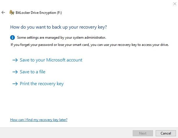 Cifrar memoria USB Windows 10 clave de recuperación de la unidad Bitlocker